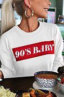 Round Neck  Letters Basic  Sweatshirts