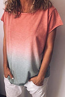 Round Neck  Gradient T-Shirts