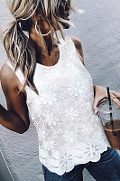 Elegant Round Neck Sleeveless Lace Splicing Chiffon Top