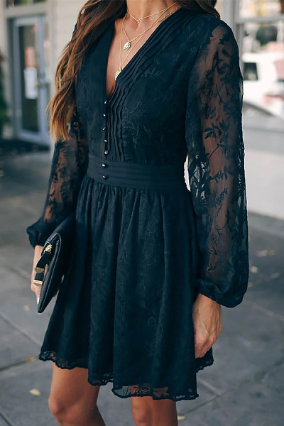 Sexy Deep V Neck Black See Through Lace Dress