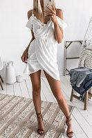 Spaghetti Strap  Asymmetric Hem  Belt  Plain  Short Sleeve Casual Dresses