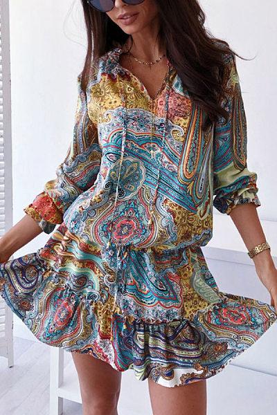 Fashion Three Quarter Sleeve Printed Mini Dress