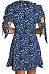 Deep V Neck  Asymmetric Hem  Printed  Short Sleeve Casual Dresses