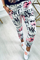 Fitted Basic Printed Pants