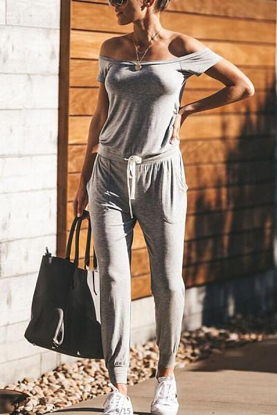 Off Shoulder  Backless  Plain  Short Sleeve Jumpsuits