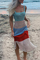 Spaghetti Strap  Slit  Striped  Sleeveless  Elegant Bodycon Dresses