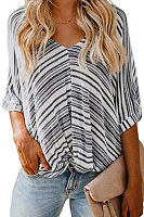Deep V Neck  Stripes  Cuffed Sleeve T-Shirts