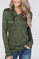 Asymmetric Neck  Zipper  Plain Sweaters