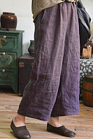Daily Plain Casual Loose Cotton And Linen Wide Leg Pants