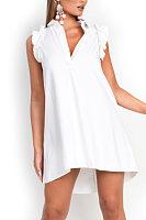 Turn Down Collar  Asymmetric Hem  Plain  Extra Short Sleeve Casual Dresses