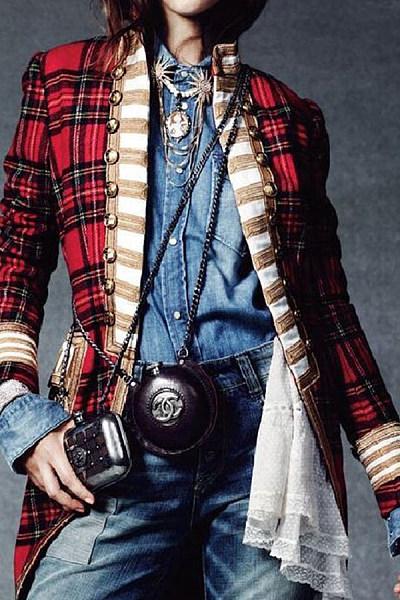 Band Collar  Decorative Buttons  Checkered Outerwear
