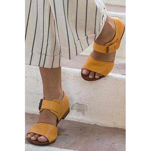 Plain  Flat  Peep Toe  Basic Casual Flat Sandals