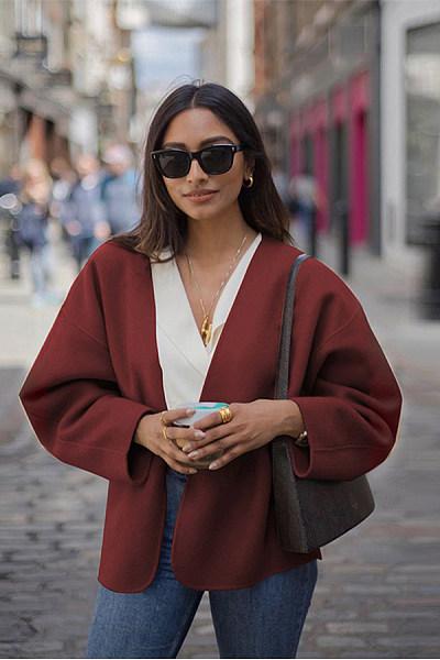 Fashion Pure Colour Long Sleeve Loose Woolen Coat