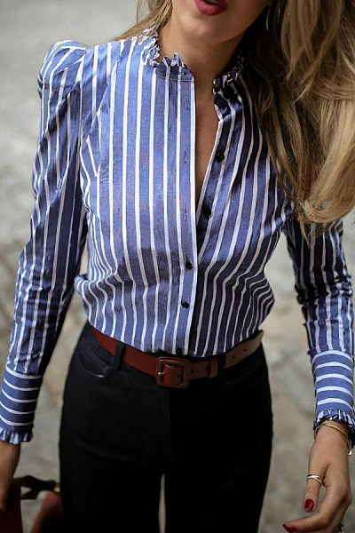 Simple Stitching Striped Long-Sleeved Shirt