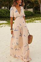 Deep V Waist Hollow Printed Vacation Dress