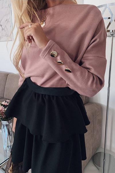 Brief Word Collar Pure Colour Long Sleeve T-Shirt