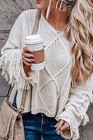 Round Neck  Fringe  Plain Sweaters