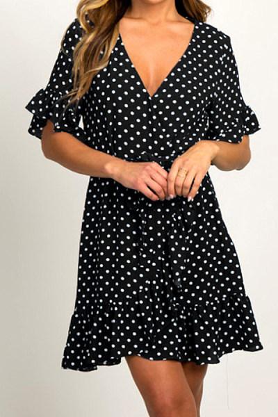 V Neck  Dot  Short Sleeve Skater Dresses