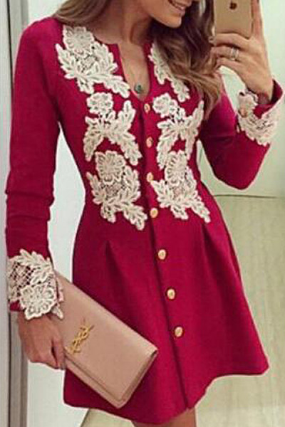 V Neck  Decorative Lace  Lace Plain  Long Sleeve Skater Dresses