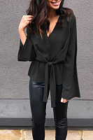 Deep V Neck  Plain  Bell Sleeve  Blouses