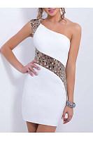 One Shoulder Sequin Mini Bodycon Dress