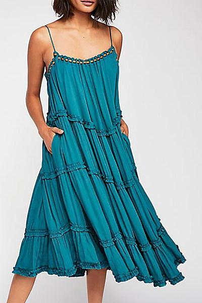 Bohemian Loose Sling Pure Colour Casual Dresses