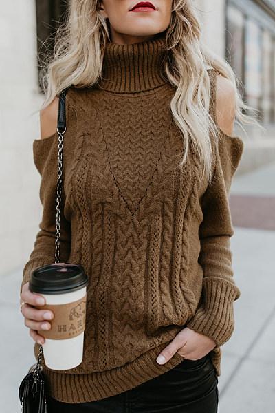 High Neck  Crochet  Plain Sweaters