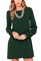 Round Neck  Plain  Lantern Sleeve  Long Sleeve Casual Dresses