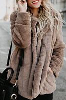 Fold Over Collar  Plain Outerwear