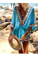 V Neck Bohemian Printed Jumpsuits