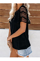 Round Neck Lace Short Sleeve T-Shirts