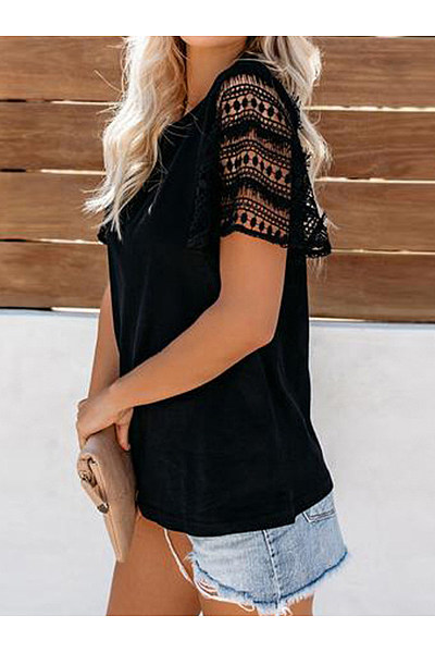 Round Neck Lace Short Sleeve T-Shirts