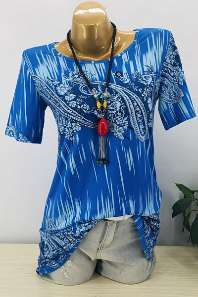 Casual Printed Short-Sleeved Round Neck Large Size T-Shirt