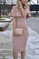 Off Shoulder  Flounce  Plain  Short Sleeve Bodycon Dresses