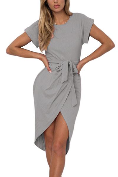 Crew Neck  Asymmetric Hem  Belt  Plain  Batwing Sleeve  Extra Short Sleeve Casual Dresses