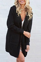 Hooded  Cross Straps Snap Front  Plain Cardigans
