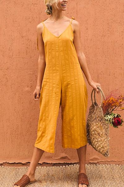 Fashion Plain Lace-Up Halter Jumpsuits