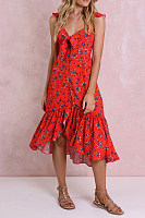 Bow-Tie Back Ruffled Sling   V-Neck Pleated Dress