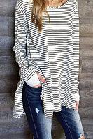 Round Neck  Asymmetric Hem  Striped Casual Dresses