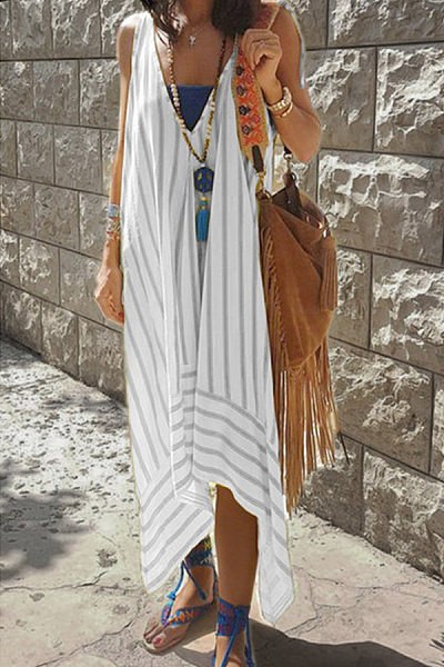 V Neck Striped Maxi Dresses