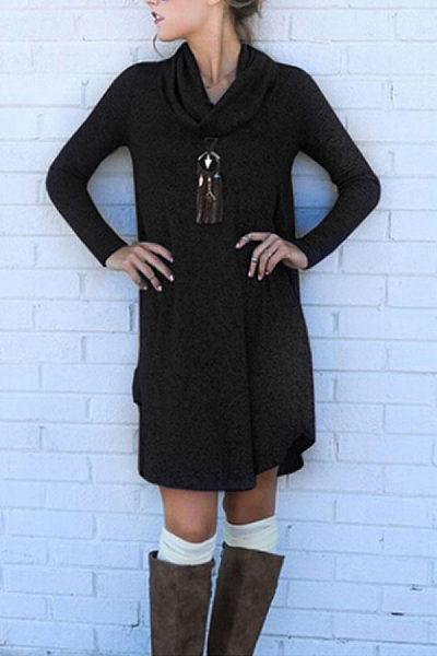 Cowl Neck  Asymmetric Hem  Plain  Long Sleeve Casual Dresses