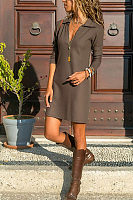 Deep V Neck  Plain  Long Sleeve Casual Dresses