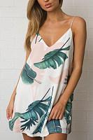 V Neck  Feather  Sleeveless Casual Dresses