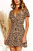 Deep V Neck  Leopard  Short Sleeve Casual Dresses