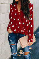 V Neck Heart  Printed  Blouses