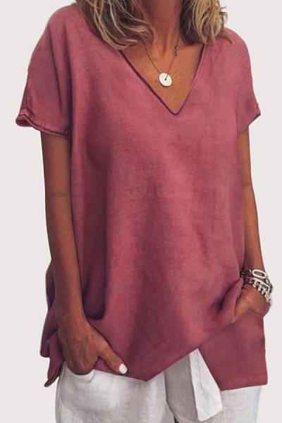 V Neck  Loose Fitting  Plain T-Shirts