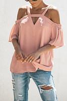 Spaghetti Strap V Neck Chiffon Short Bell Sleeve T-Shirts