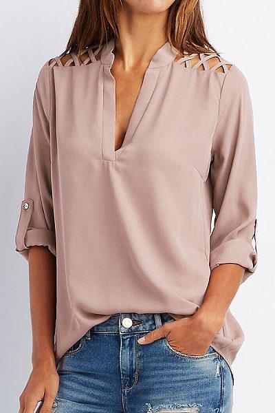 V Neck  Patchwork  Hollow Out Plain Shirts