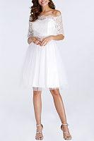 Off Shoulder  Zipper  Hollow Out Lace Plain Party Dresses