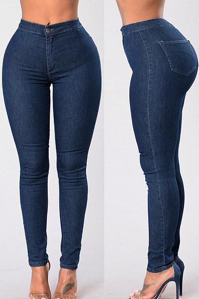 Long  Basic Autumn Plain Jeans